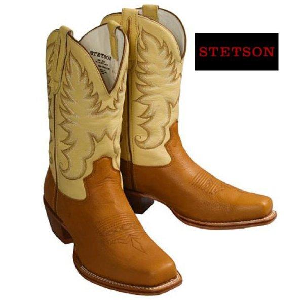 画像1: ステットソン ウエスタンブーツ(タン・クリーム)/Stetson Western Boots(Tan/Cream)