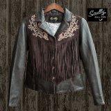 スカリー レディース フリンジ 刺繍 レザー ジャケット(ブラウン)/Scully Leather Fringe Jacket(Women's)