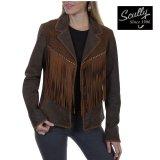 スカリー レディース ラムスエード フリンジ レザー ジャケット(ブラウン)/Scully Lamb Suede Leather Fringe Jacket(Women's)
