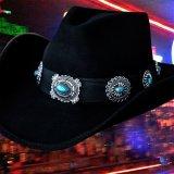 シルバー&ターコイズコンチョ カウボーイ ハット(ブラック)/Western Felt Hat(Black)