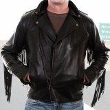 スカリー ラムレザー フリンジ モーターサイクル ジャケット(ブラック)/Scully Soft Touch Lamb Fringe Motorcycle Jacket(Black)