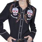 スカリー 刺繍 ウエスタン シャツ(長袖/シュガー スカル)XS/Scully Long Sleeve Western Shirt(Women's)
