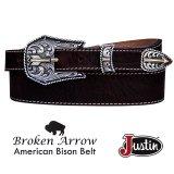 ジャスティン ブロークン アロー バッファロー ベルト(ブラウン)/Justin Broken Arrow Amercan Bison Belt(Brown)