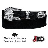 ジャスティン ブロークン アロー バッファロー ベルト(ブラック)/Justin Broken Arrow Amercan Bison Belt(Black)