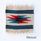 オルテガ ウール コースター レッド・ターコイズ・ブラック(12cm×12cm)/Ortega's Wool Coasters