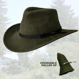 ブルハイド クラッシャブル ロールアップ プレミアムウール アウトドアハット(オリーブ)/Bullhide Outland Crashable Rolled Up Premium Wool Hat(Olive)