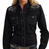 ローパー 刺繍&ステッチ ウエスタンシャツ ブラック(長袖/レディース)/Roper Long Sleeve Western Shirt(Women's)