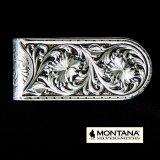 モンタナシルバースミス アンティークシルバー シェリダンワイルドローズ マネークリップ/Montana Silversmiths Antiqued Sheridan Rose Money Clip