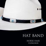 ブラックホースヘアー&5シルバー・ターコイズコンチョ ハット バンド/Horse Hair w/Conchos Hat Band(Black)
