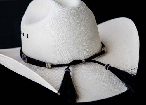 画像クリックで大きく確認できます Click↓2: ブラックホースヘアー&5シルバー・ターコイズコンチョ ハット バンド/Horse Hair w/Conchos Hat Band(Black)