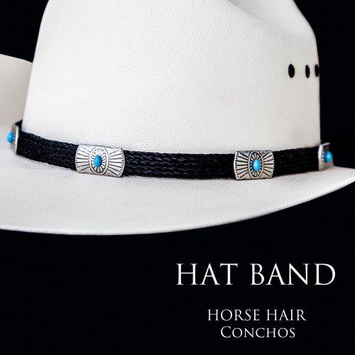 画像クリックで大きく確認できます Click↓1: ブラックホースヘアー&5シルバー・ターコイズコンチョ ハット バンド/Horse Hair w/Conchos Hat Band(Black)