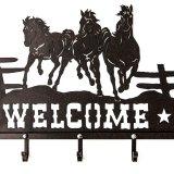 ランニングホース&スター ウエスタン ウェルカム ハンガー(ラストブラウン)/Metal Welcome Horse Welcome Hanger