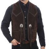 スカリー ハンドレース&コンチョ ウエスタン フリンジ レザー ベスト(ブラウン)/Scully Handlaced Concho Vest(Expresso)
