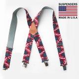サスペンダー クリップ式(アメリカンフラッグ)/M&F Western Products Clip Suspenders(Red/White/Blue)