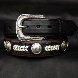 ノコナ ツートン コンチョ ウエスタン ベルト(ブラウン・ブラック)/Nocona Hired Hand Western Belt(Brown/Black)