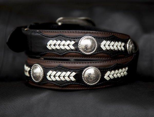 画像2: ノコナ ツートン コンチョ ウエスタン ベルト(ブラウン・ブラック)/Nocona Hired Hand Western Belt(Brown/Black)
