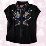 スカリー ラインストーン・フローラル刺繍 ウエスタンシャツ ブラック キャップスリーブM/Scully Western Shirt(Women's)