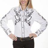 スカリー 刺繍 ウエスタン シャツ(長袖/ホワイト ブラック・ローズ)/Scully Long Sleeve Western Shirt(Women's)