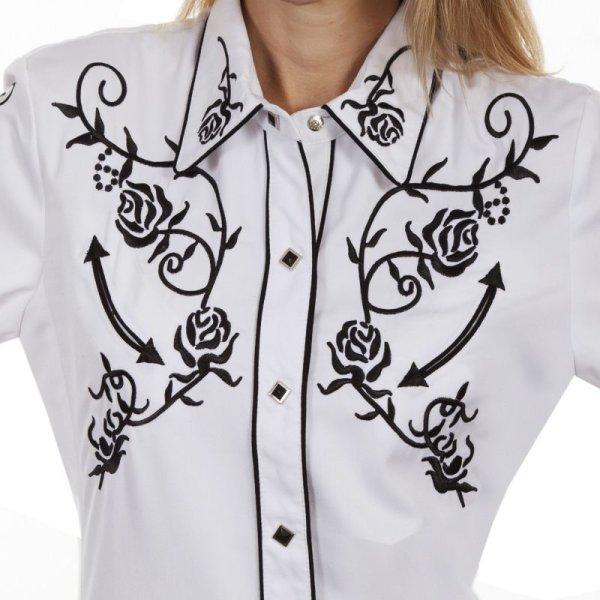 画像2: スカリー 刺繍 ウエスタン シャツ(長袖/ホワイト ブラック・ローズ)/Scully Long Sleeve Western Shirt(Women's)