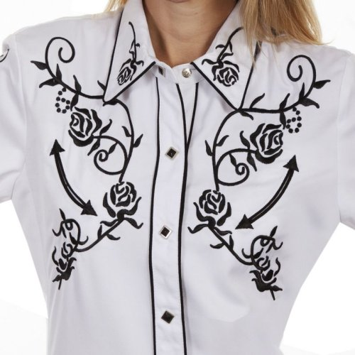 画像クリックで大きく確認できます Click↓2: スカリー 刺繍 ウエスタン シャツ(長袖/ホワイト ブラック・ローズ)/Scully Long Sleeve Western Shirt(Women's)