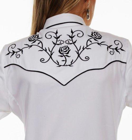 画像クリックで大きく確認できます Click↓3: スカリー 刺繍 ウエスタン シャツ(長袖/ホワイト ブラック・ローズ)/Scully Long Sleeve Western Shirt(Women's)