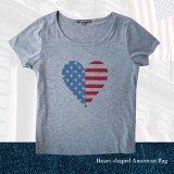 アメリカンフラッグ ハート レディース 半袖Tシャツ(グレー)/Women's Short Sleeve T-shirt(Grey)
