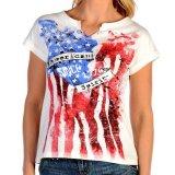 リバティーウエア アメリカンスピリット 星条旗デザイン 半袖Tシャツ(ホワイト)/Liberty Wear Short Sleeve T-shirt(Women's)