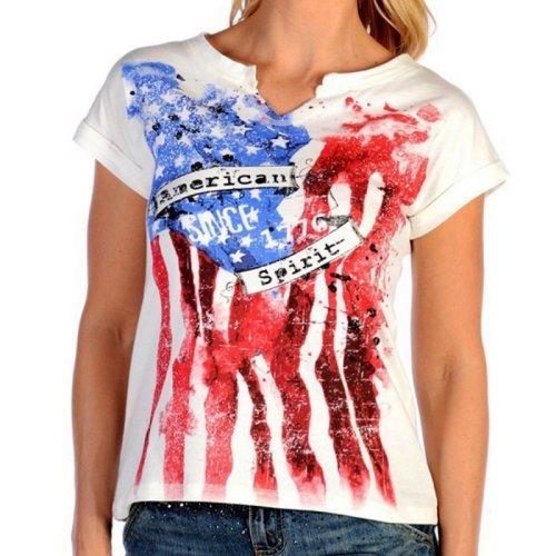 画像クリックで大きく確認できます Click↓1: リバティーウエア アメリカンスピリット 星条旗デザイン 半袖Tシャツ(ホワイト)/Liberty Wear Short Sleeve T-shirt(Women's)