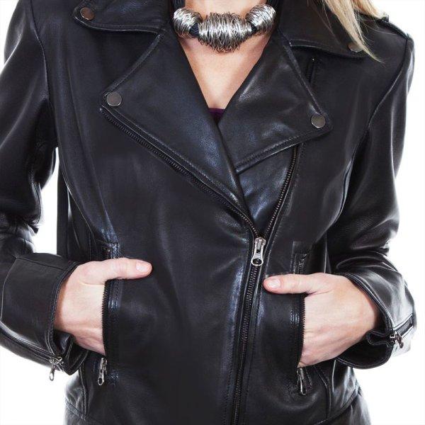 画像2: スカリー レディース ラムレザー モーターサイクル ジャケット(ブラック)/Scully Soft Touch Lamb Motorcycle Jacket(Black)