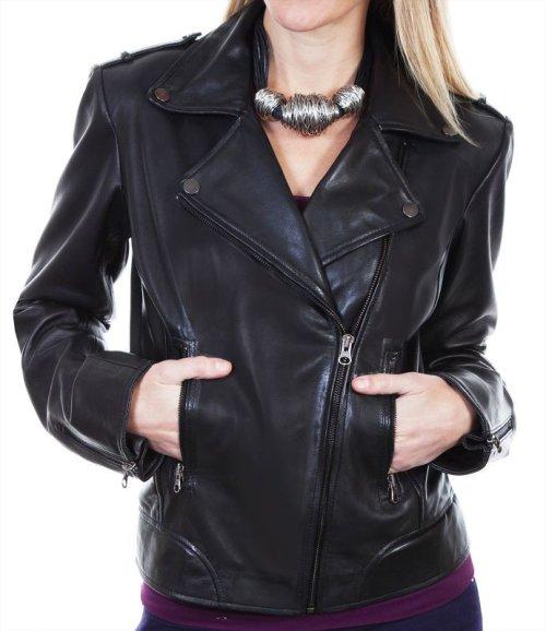画像クリックで大きく確認できます Click↓2: スカリー レディース ラムレザー モーターサイクル ジャケット(ブラック)/Scully Soft Touch Lamb Motorcycle Jacket(Black)
