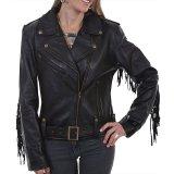 スカリー レディース ラムレザー フリンジ モーターサイクル ジャケット(ブラック)M/Scully Soft Touch Lamb Fringe Motorcycle Jacket(Black)
