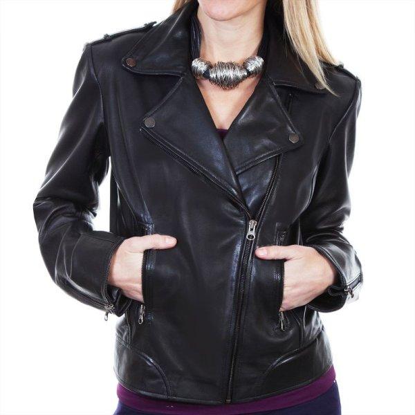 画像1: スカリー レディース ラムレザー モーターサイクル ジャケット(ブラック)/Scully Soft Touch Lamb Motorcycle Jacket(Black)