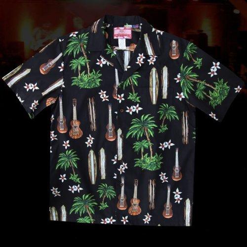 画像クリックで大きく確認できます Click↓2: RJC ロバート・J・クランシー アロハシャツ ウクレレ・パームツリー・サーフボード(ブラック)/RJC ROBERT J. CLANCEY Aloha Shirt