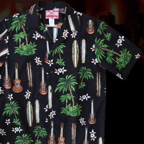 画像クリックで大きく確認できます Click↓1: RJC ロバート・J・クランシー アロハシャツ ウクレレ・パームツリー・サーフボード(ブラック)/RJC ROBERT J. CLANCEY Aloha Shirt