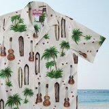 RJC ロバート・J・クランシー アロハシャツ ウクレレ・パームツリー・サーフボード(アイボリー)/RJC ROBERT J. CLANCEY Aloha Shirt