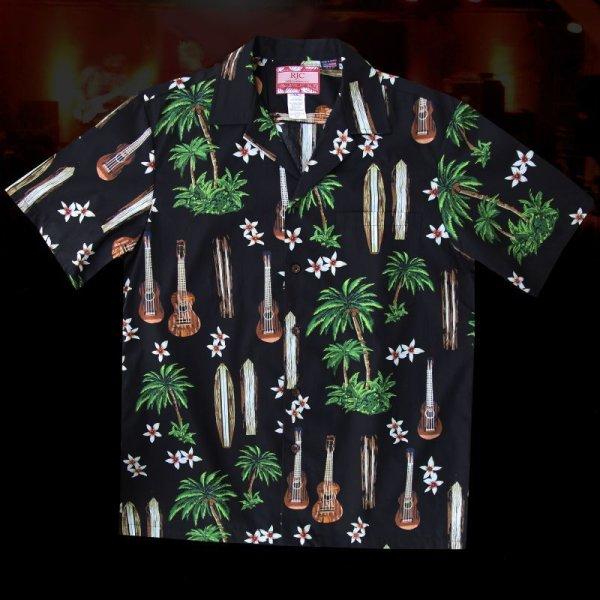 画像2: RJC ロバート・J・クランシー アロハシャツ ウクレレ・パームツリー・サーフボード(ブラック)/RJC ROBERT J. CLANCEY Aloha Shirt