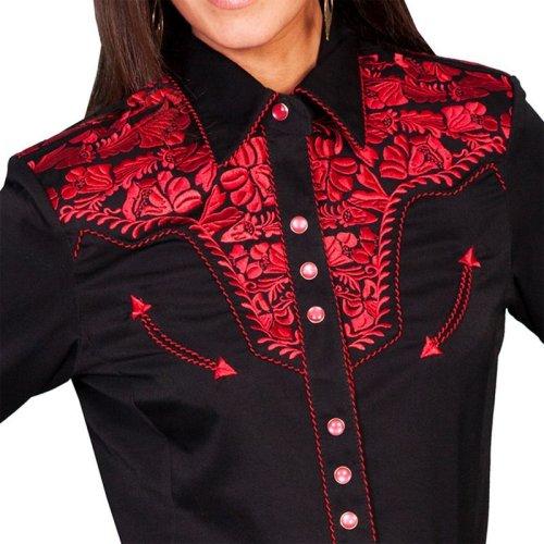 画像クリックで大きく確認できます Click↓2: スカリー 刺繍 ウエスタン シャツ(長袖/ブラック・クリムゾン)/Scully Long Sleeve Western Shirt(Women's)