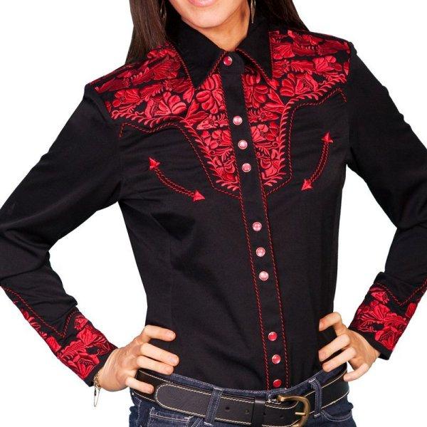 画像1: スカリー 刺繍 ウエスタン シャツ(長袖/ブラック・クリムゾン)/Scully Long Sleeve Western Shirt(Women's)
