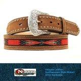 ノコナ サウスウエストテープ&スタッズ ウエスタン レザーベルト(ブラウン・レッド)/Nocona Western Leather Belt(Brown/Red)