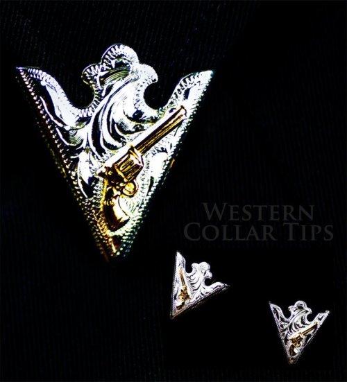 画像クリックで大きく確認できます Click↓2: ウエスタン カラーチップ(シルバー・ゴールドガン)/Collar Tips