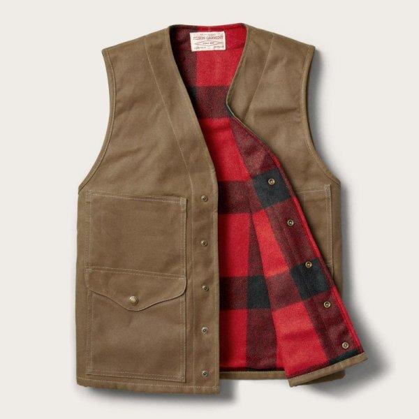 画像2: フィルソン マッキーノウールラインド ティンクロス クルーザー ベスト(ダークタン)XS/Filson Lined Cruiser Vest(Dark Tan)