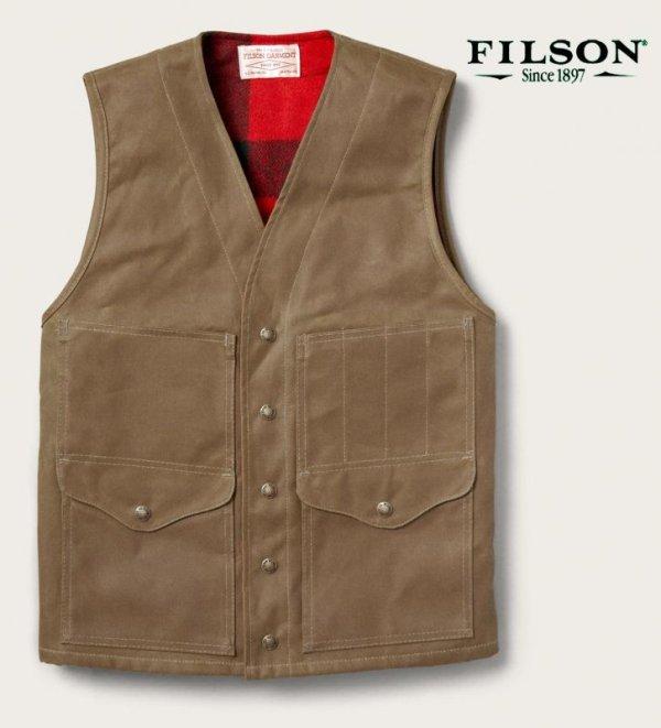 画像1: フィルソン マッキーノウールラインド ティンクロス クルーザー ベスト(ダークタン)XS/Filson Lined Cruiser Vest(Dark Tan)
