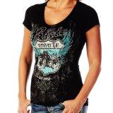 リバティーウエア ルート66 Ride ラインストーン&スタッズ 半袖Tシャツ(ブラック)/Liberty Wear Short Sleeve T-shirt(Women's)