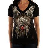リバティーウエア ラインストーン ハート・ヘッドドレス 半袖Tシャツ(ブラック)/Liberty Wear Short Sleeve T-shirt(Women's)