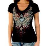 リバティーウエア ラインストーン ハート・ビンテージウイング&スター 半袖Tシャツ(ブラック)/Liberty Wear Short Sleeve T-shirt(Women's)