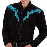 スカリー スクロール刺繍・メタルスタッズ・キャンディケイン ウエスタン シャツ(長袖/ブラック・ターコイズ)/Scully Long Sleeve Embroidered Western Shirt(Men's)