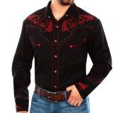 スカリー レッドスクロール刺繍・メタルスタッズ・キャンディケイン ウエスタン シャツ(長袖/ブラック・レッド)/Scully Long Sleeve Embroidered Western Shirt(Men's)