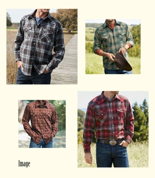 画像3: ペンドルトン ウエスタンシャツ(ネイビー・レッド・タンオンブレ)S/Pendleton Western Shirt