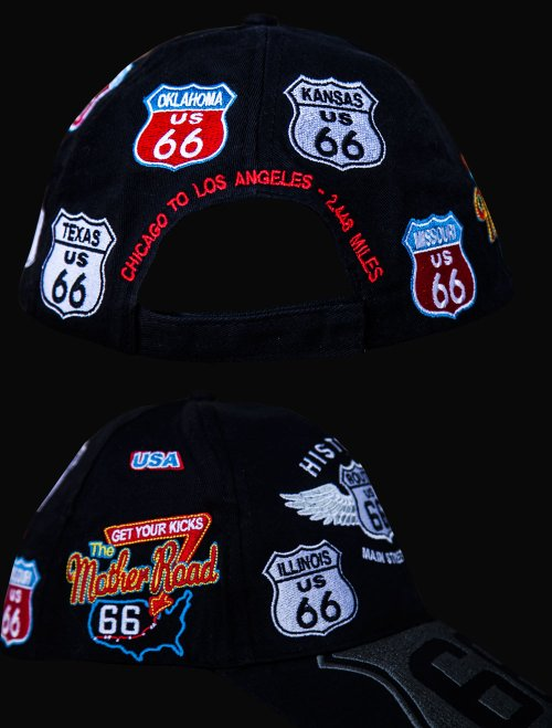 画像クリックで大きく確認できます Click↓3: ルート66 8州 刺繍 ワッペン キャップ(ブラック)/Route 66 Cap(Black)