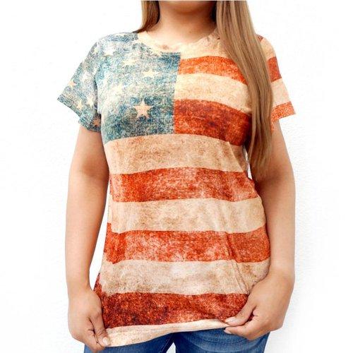 画像クリックで大きく確認できます Click↓1: レディース ウエスタン 半袖Tシャツ(星条旗)/American Flag Short Sleeve T-shirt(Women's)